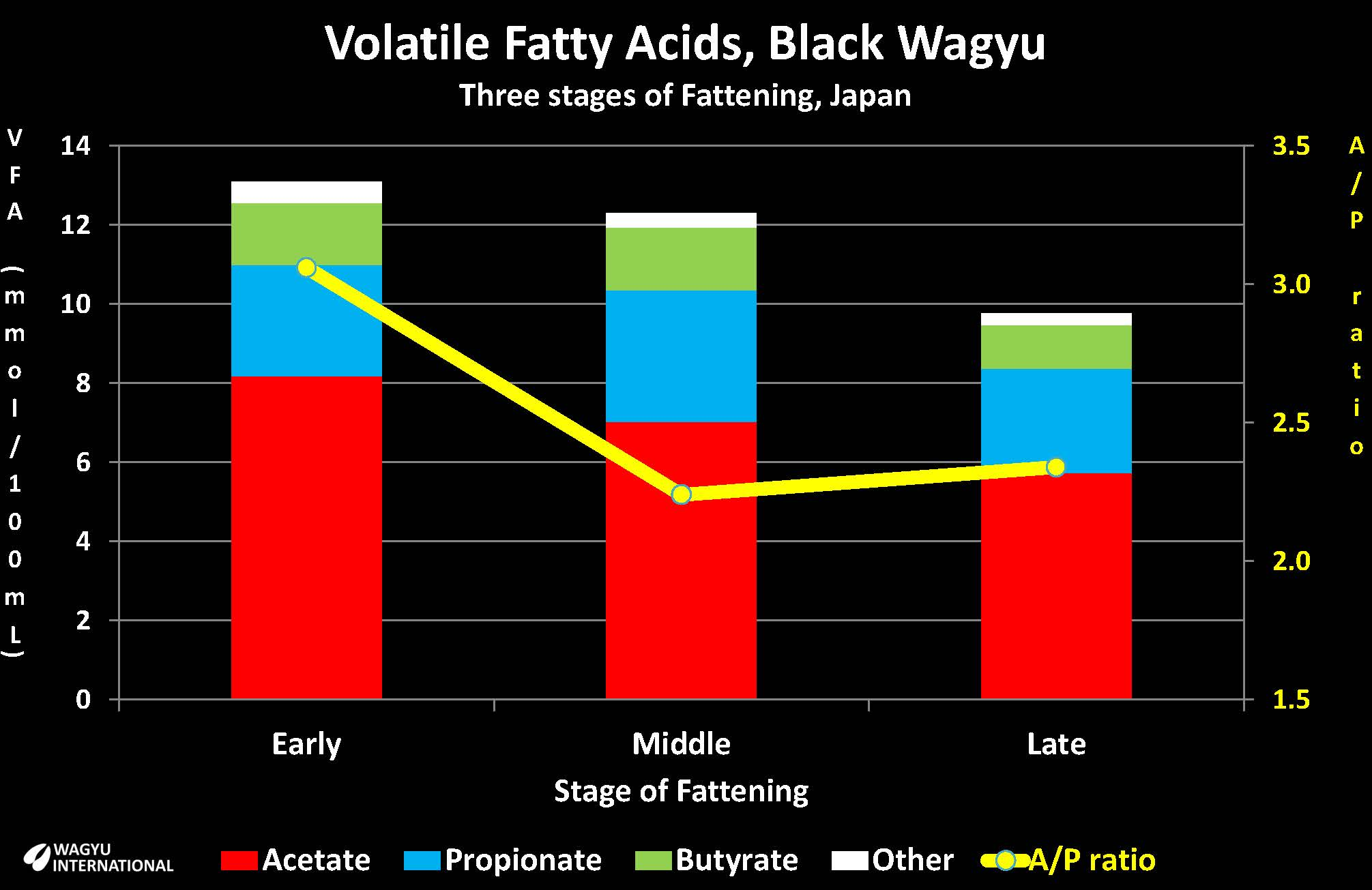 Chart with volatile fatty acid content from Wagyu in Japan at different stages of fattening presented by Wagyu International
