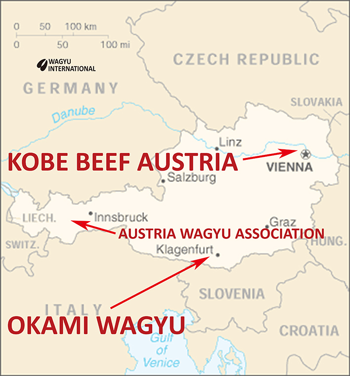 Map of Austria showing Wagyu breeders