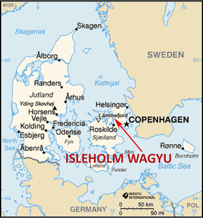 Map of Denmark showing Wagyu breeders