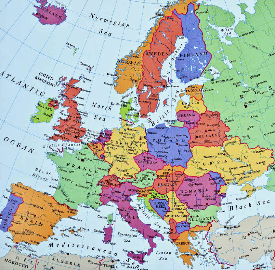 Map of Europe showing countries