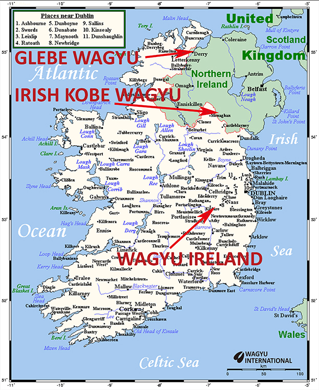 Map of Wagyu breeders in Ireland