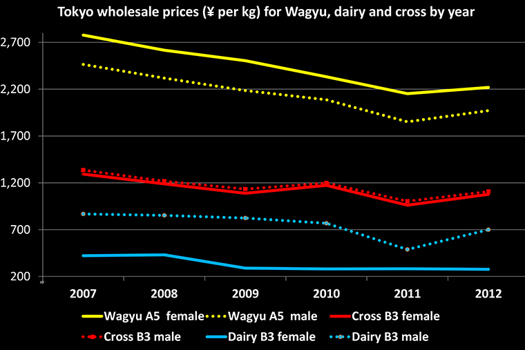 Graph of Tokyo beef wholesale prices per kg for Wagyu, dairy and cross with sex and grades each year from 2007 to 2012