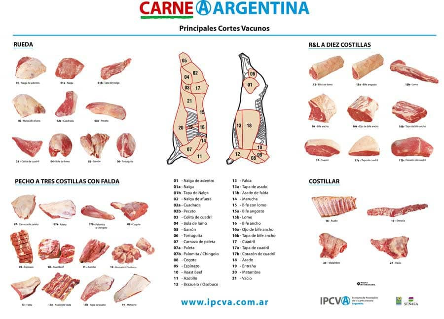 Poster of cuts of beef in Argentina